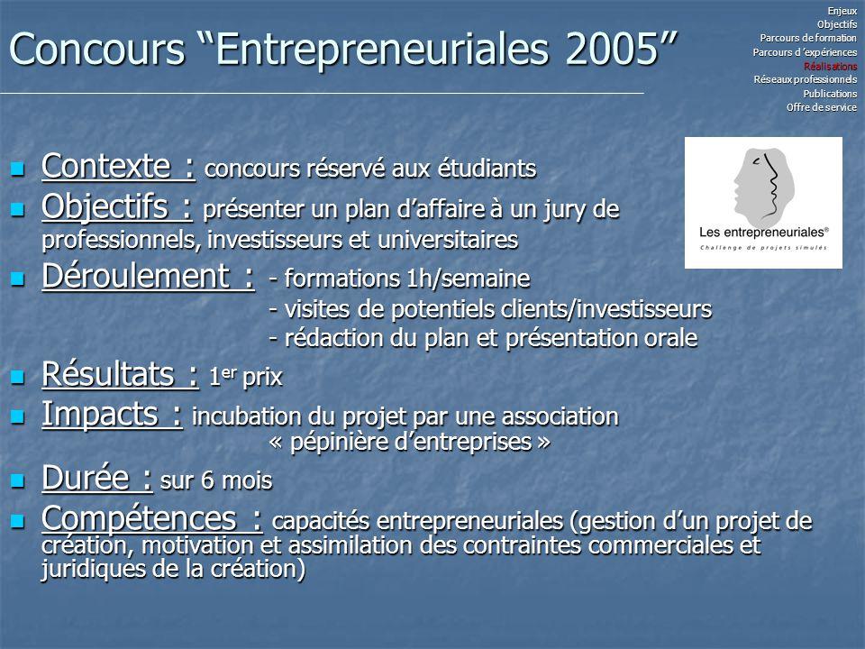 Concours Entrepreneuriales 2005