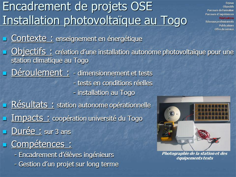 Encadrement de projets OSE Installation photovoltaïque au Togo