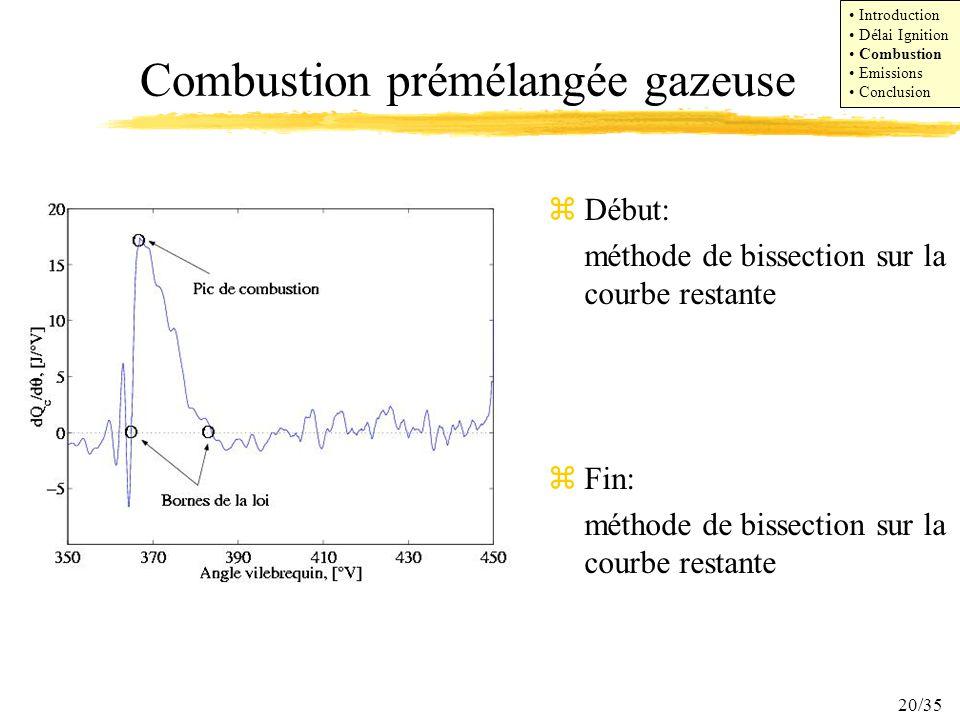 Combustion prémélangée gazeuse