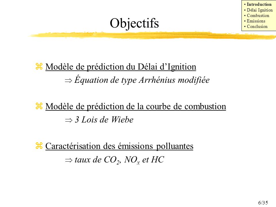 Objectifs Modèle de prédiction du Délai d'Ignition