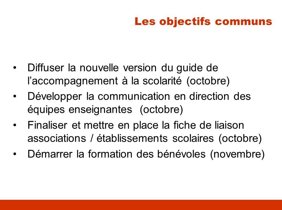 Les objectifs communs Diffuser la nouvelle version du guide de l'accompagnement à la scolarité (octobre)