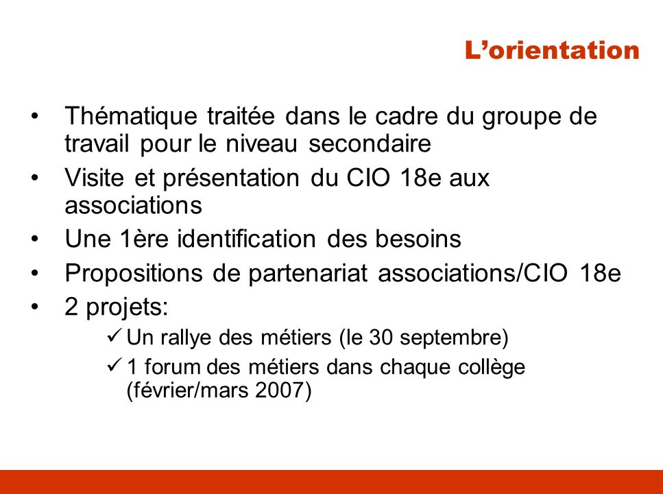 Visite et présentation du CIO 18e aux associations