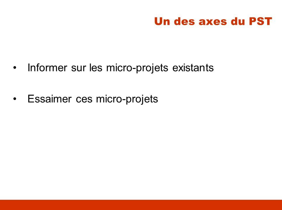 Un des axes du PST Informer sur les micro-projets existants Essaimer ces micro-projets