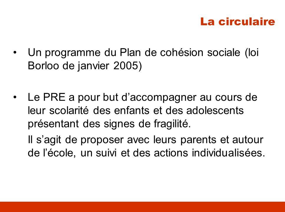La circulaire Un programme du Plan de cohésion sociale (loi Borloo de janvier 2005)