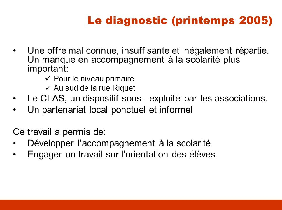 Le diagnostic (printemps 2005)