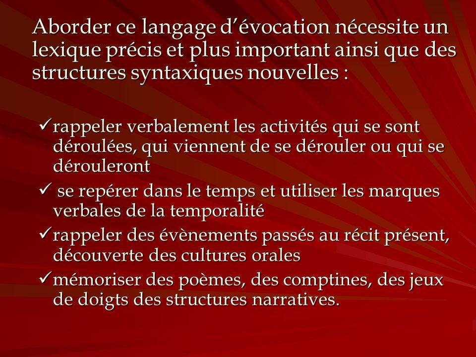 Aborder ce langage d'évocation nécessite un lexique précis et plus important ainsi que des structures syntaxiques nouvelles :