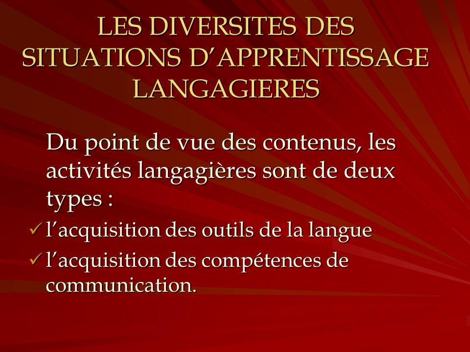 LES DIVERSITES DES SITUATIONS D'APPRENTISSAGE LANGAGIERES