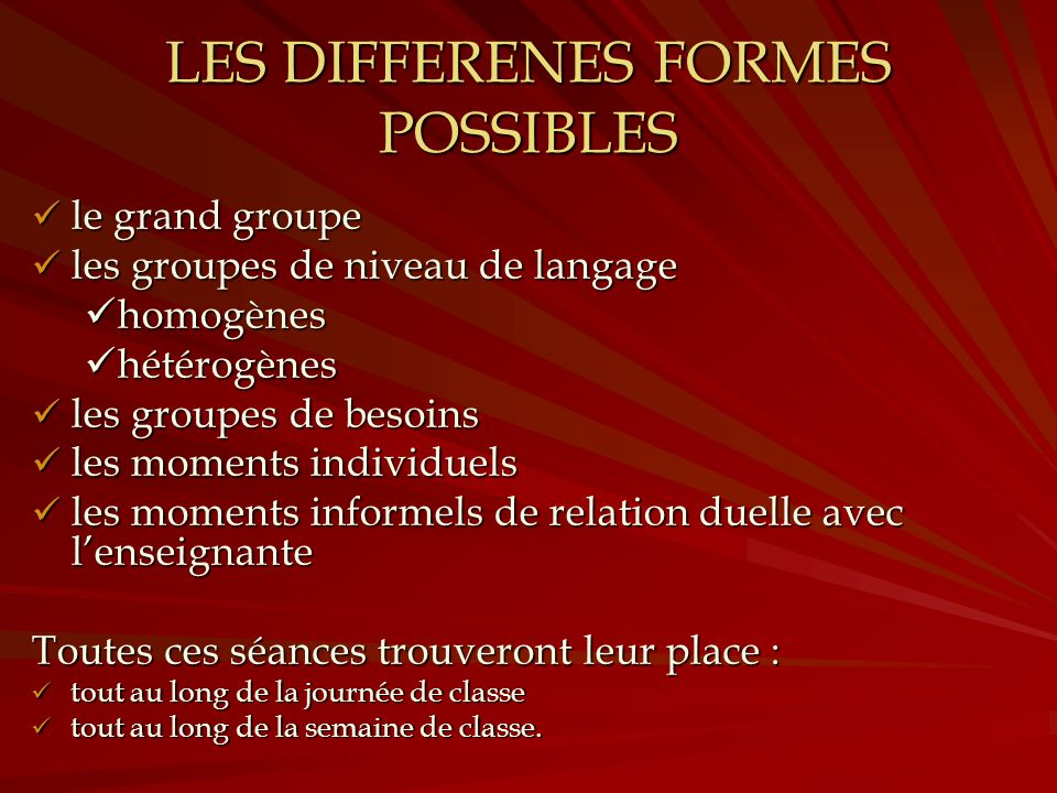 LES DIFFERENES FORMES POSSIBLES