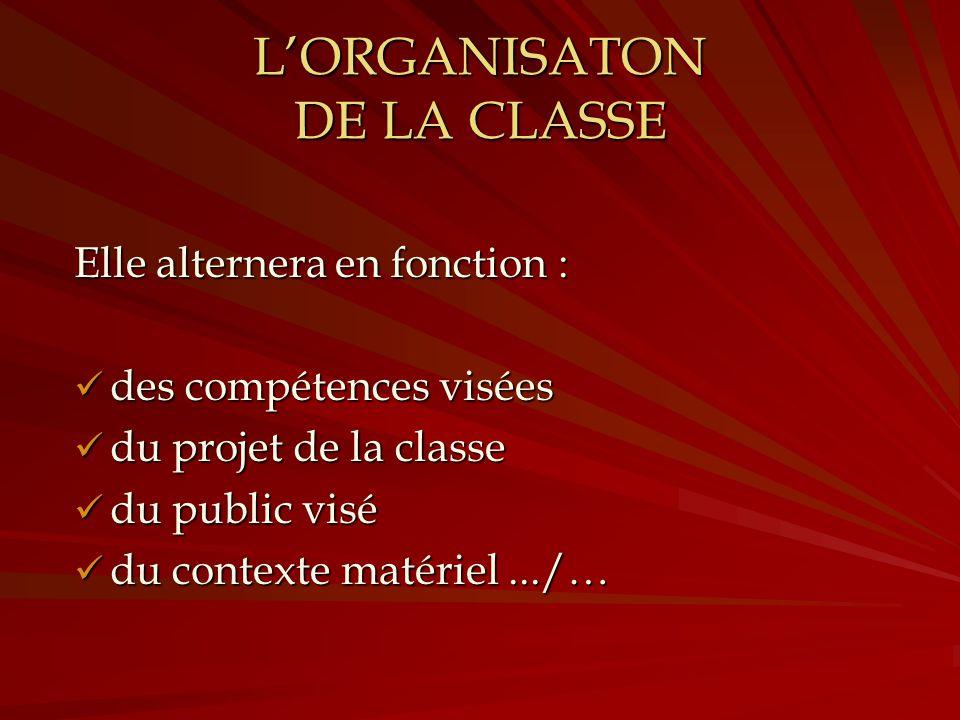 L'ORGANISATON DE LA CLASSE