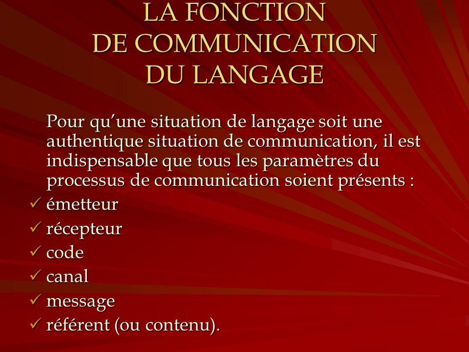 LA FONCTION DE COMMUNICATION DU LANGAGE