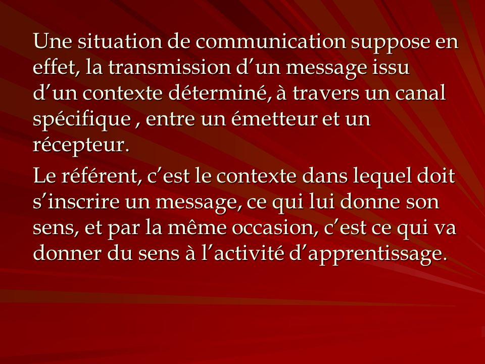 Une situation de communication suppose en effet, la transmission d'un message issu d'un contexte déterminé, à travers un canal spécifique , entre un émetteur et un récepteur.