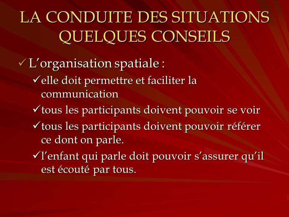 LA CONDUITE DES SITUATIONS QUELQUES CONSEILS