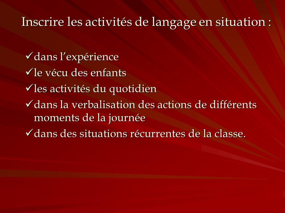Inscrire les activités de langage en situation :