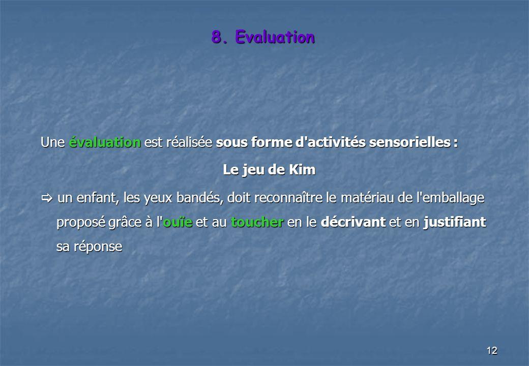 8. Evaluation Une évaluation est réalisée sous forme d activités sensorielles : Le jeu de Kim.