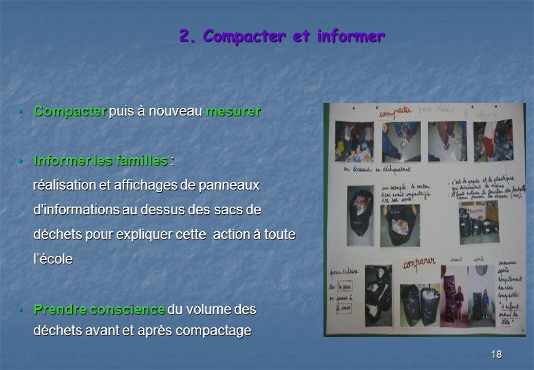 2. Compacter et informer Compacter puis à nouveau mesurer