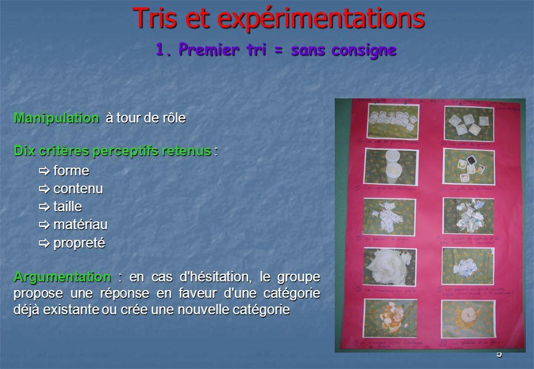 Tris et expérimentations