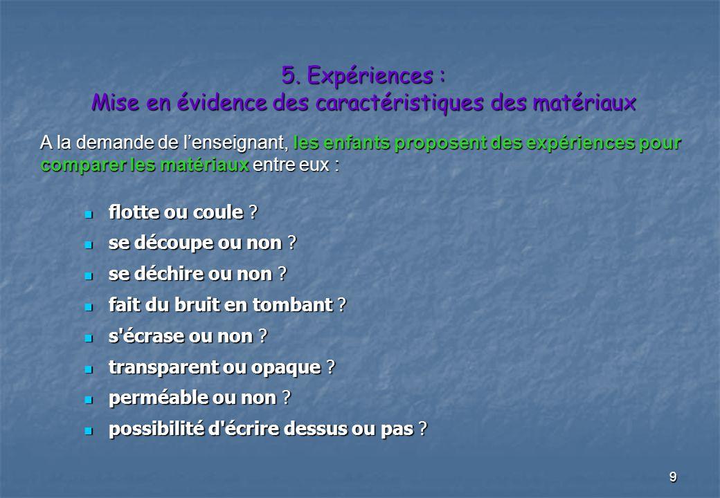5. Expériences : Mise en évidence des caractéristiques des matériaux