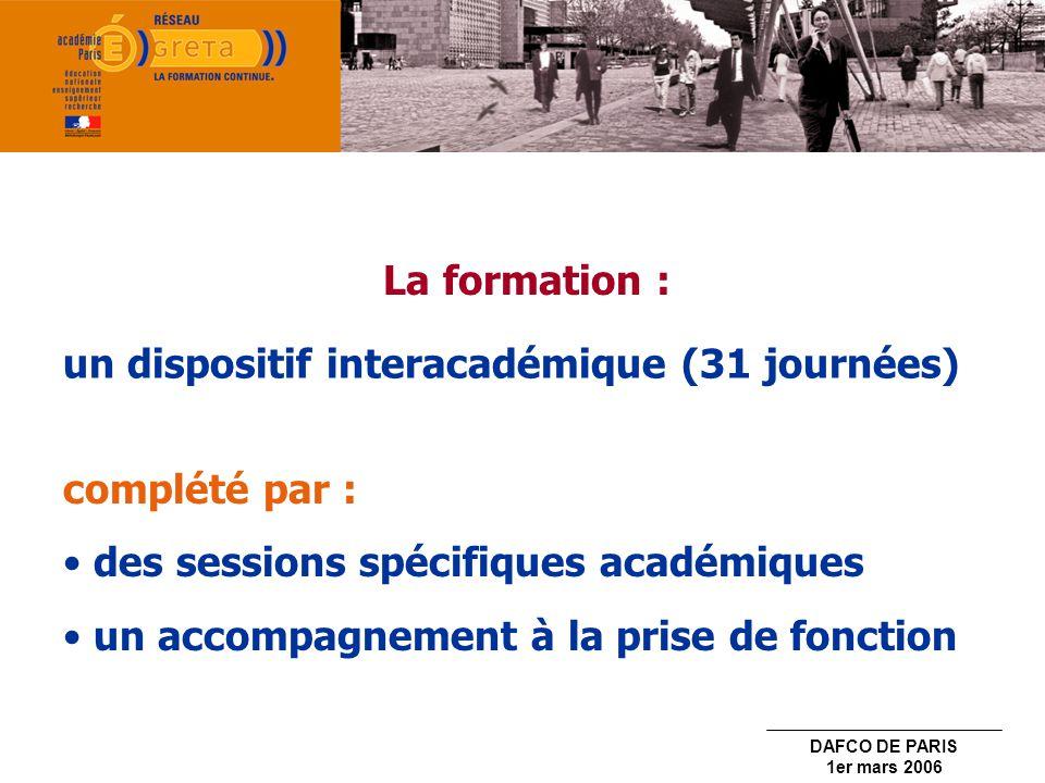 La formation : un dispositif interacadémique (31 journées) complété par : des sessions spécifiques académiques.