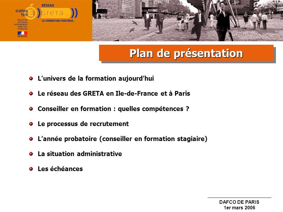 Plan de présentation L'univers de la formation aujourd'hui