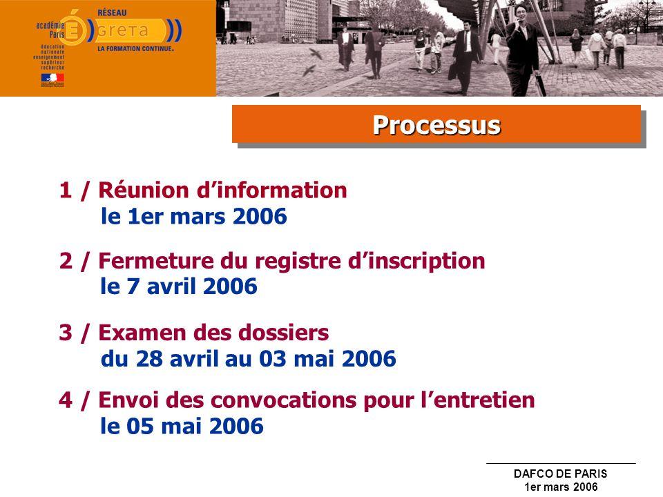 Processus 1 / Réunion d'information le 1er mars 2006