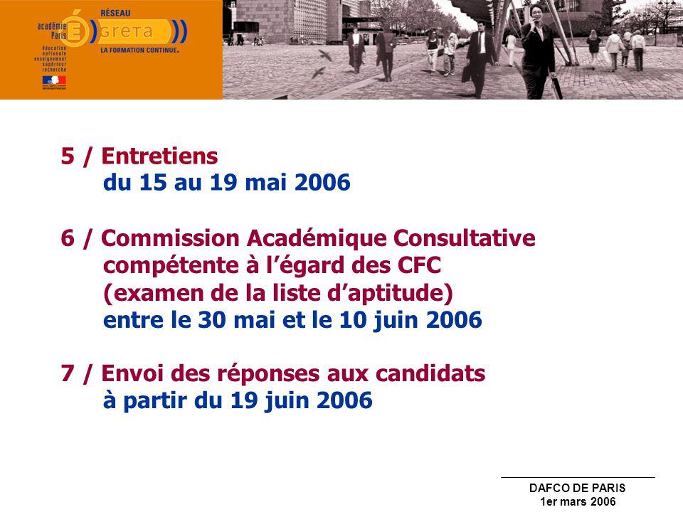 5 / Entretiens du 15 au 19 mai 2006 6 / Commission Académique Consultative compétente à l'égard des CFC.