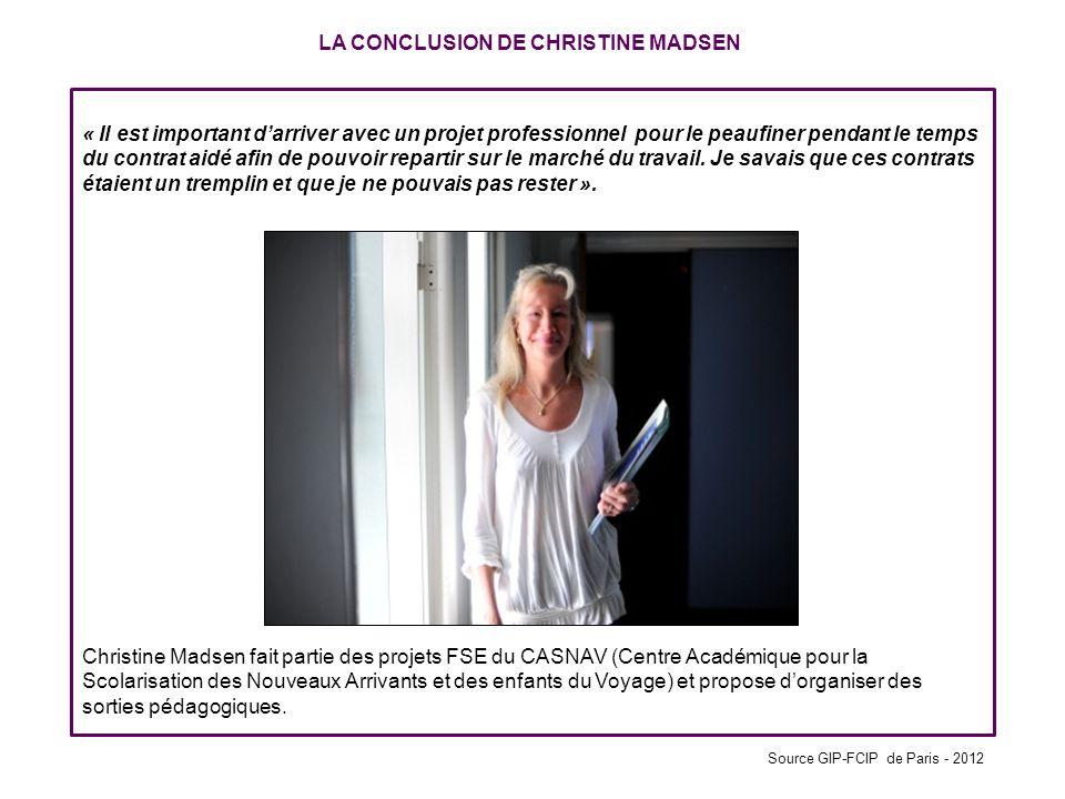 LA CONCLUSION DE CHRISTINE MADSEN