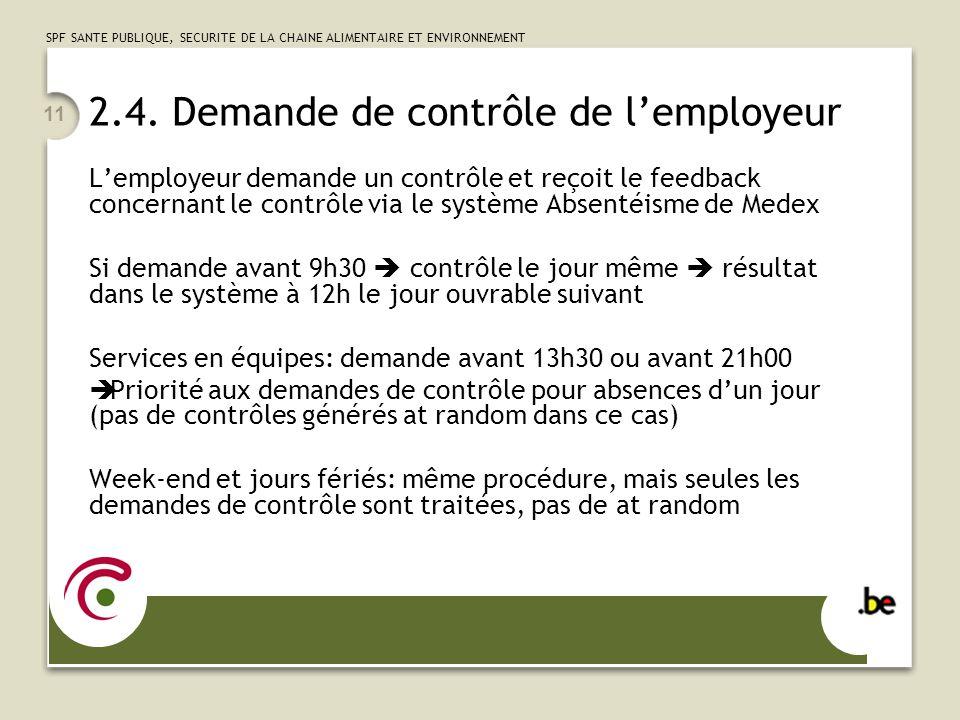 2.4. Demande de contrôle de l'employeur