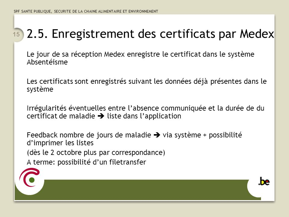 2.5. Enregistrement des certificats par Medex