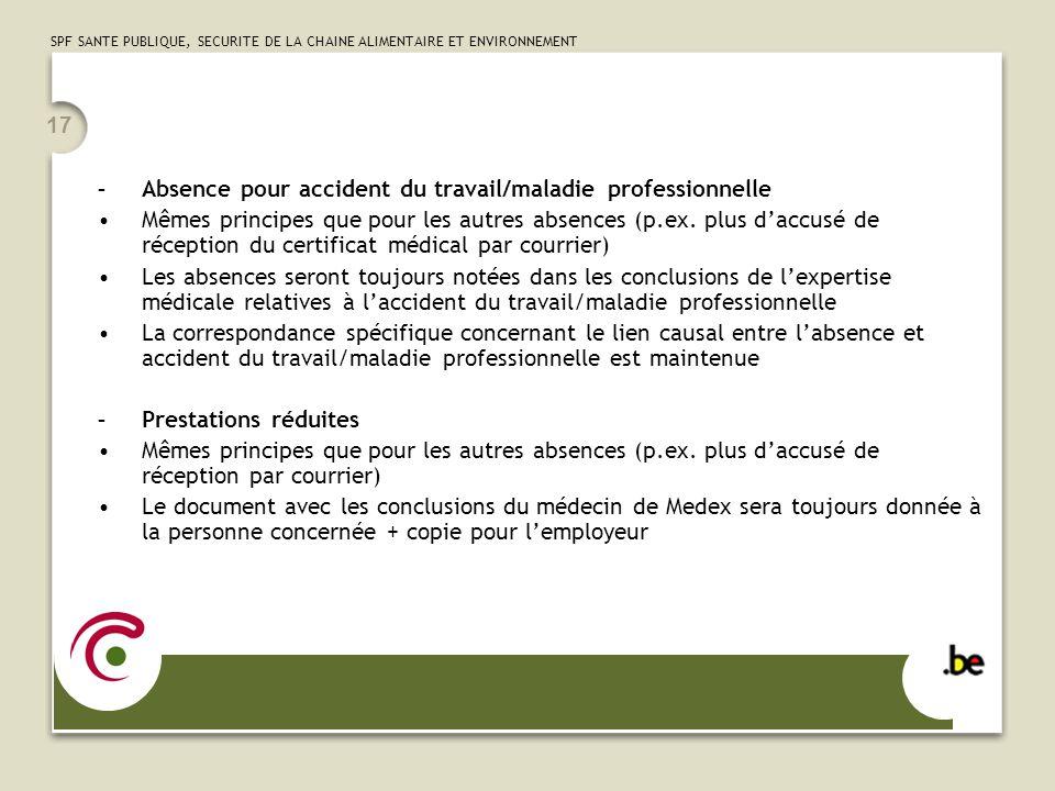 Absence pour accident du travail/maladie professionnelle