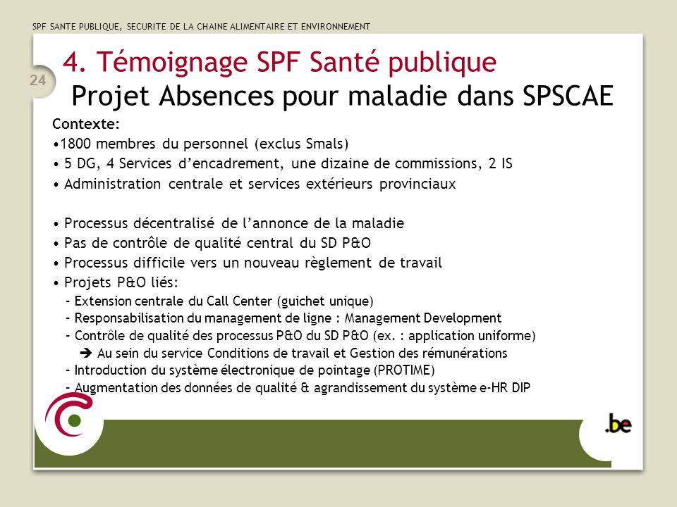 4. Témoignage SPF Santé publique Projet Absences pour maladie dans SPSCAE