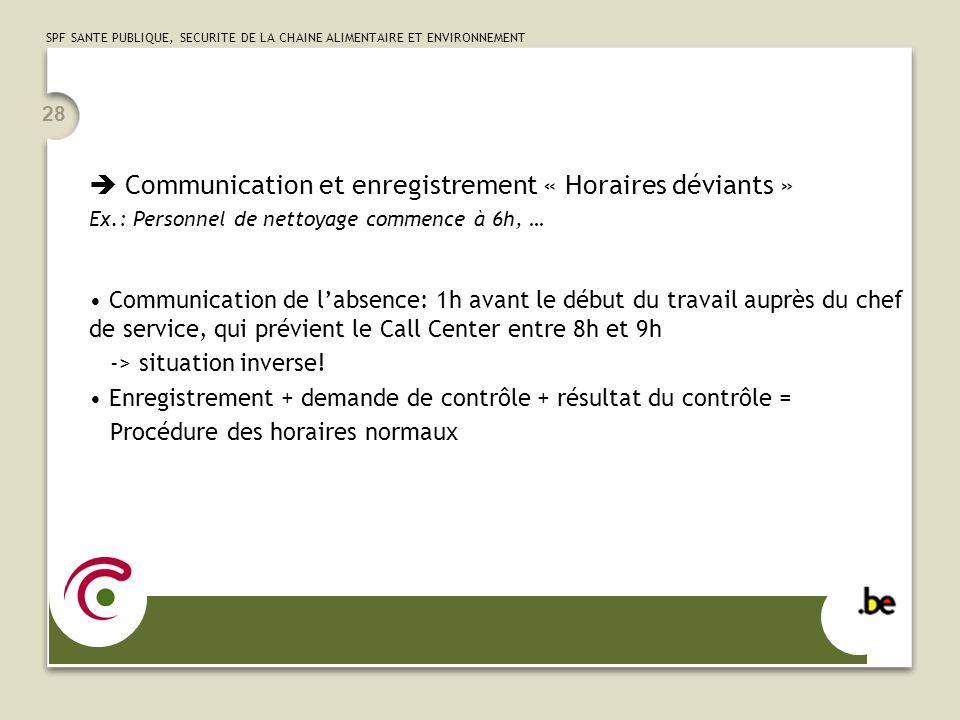  Communication et enregistrement « Horaires déviants »