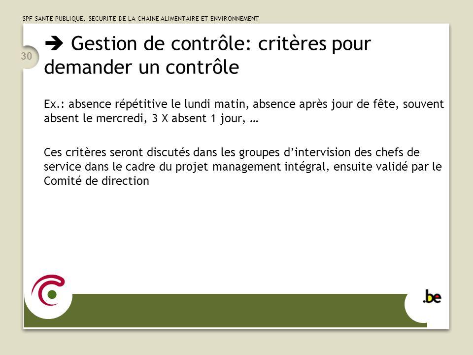  Gestion de contrôle: critères pour demander un contrôle