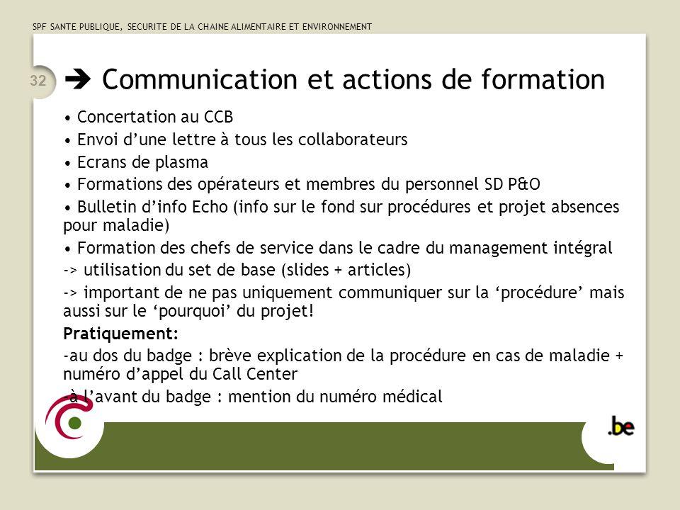  Communication et actions de formation