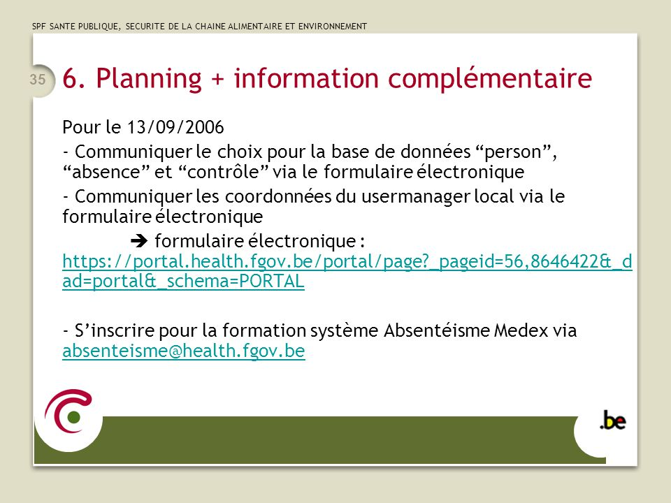6. Planning + information complémentaire