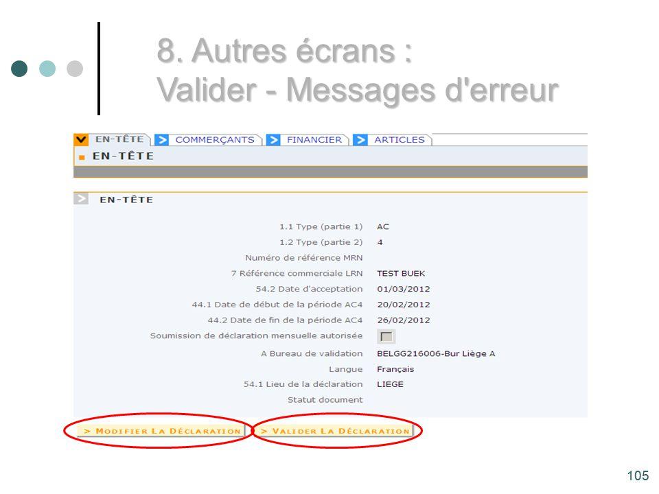 Valider - Messages d erreur