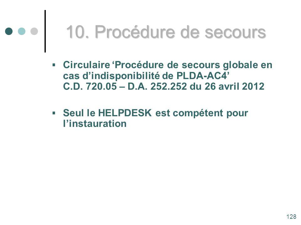 10. Procédure de secours Circulaire 'Procédure de secours globale en cas d'indisponibilité de PLDA-AC4' C.D. 720.05 – D.A. 252.252 du 26 avril 2012.