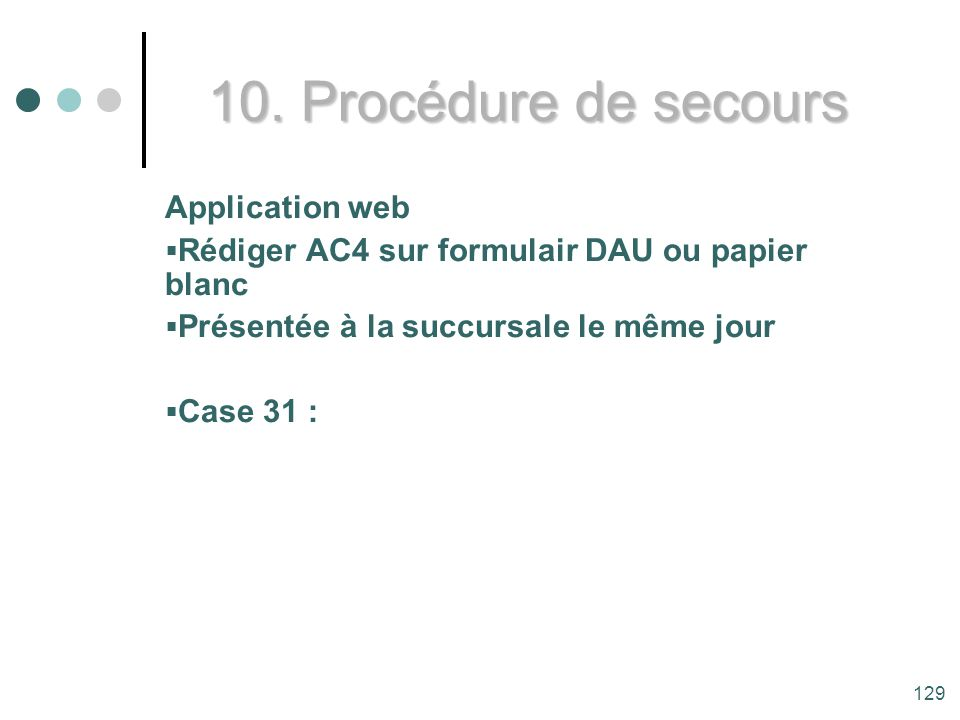 10. Procédure de secours Application web