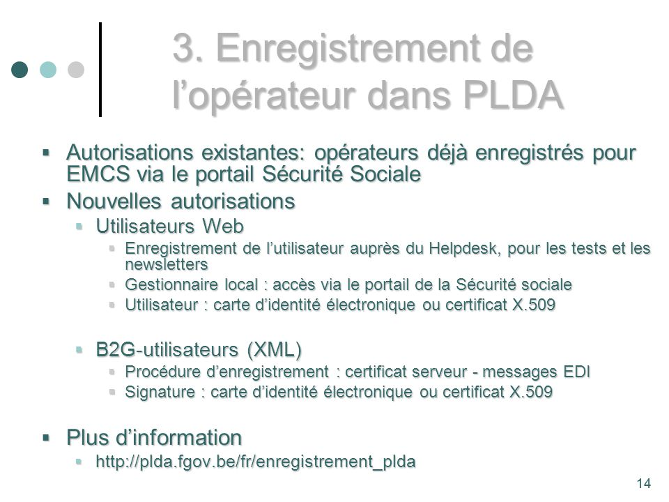 3. Enregistrement de l'opérateur dans PLDA