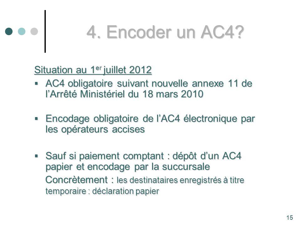 4. Encoder un AC4 Situation au 1er juillet 2012