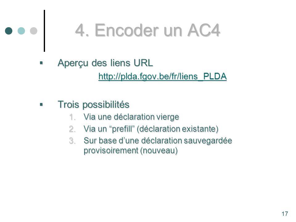 4. Encoder un AC4 Aperçu des liens URL Trois possibilités