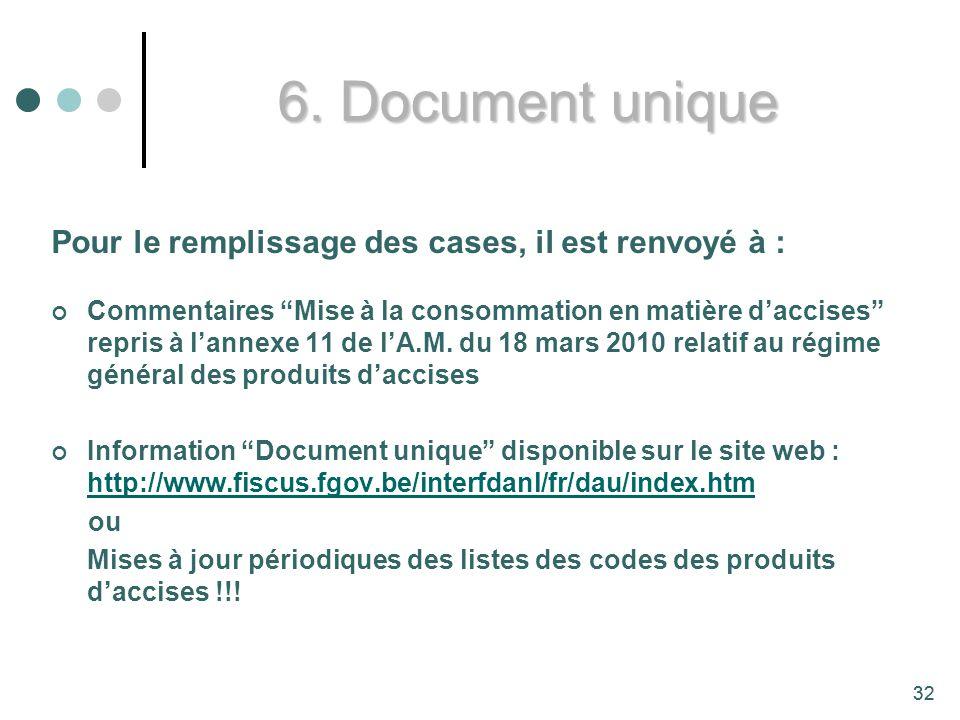 6. Document unique Pour le remplissage des cases, il est renvoyé à :