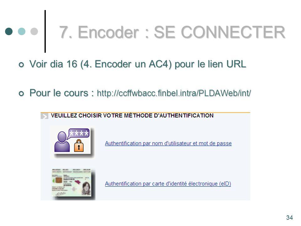 7. Encoder : SE CONNECTER Voir dia 16 (4. Encoder un AC4) pour le lien URL. Pour le cours : http://ccffwbacc.finbel.intra/PLDAWeb/int/