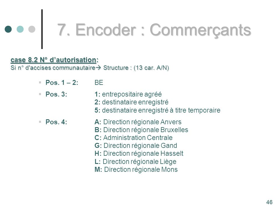 7. Encoder : Commerçants case 8.2 N° d'autorisation: Pos. 1 – 2: BE