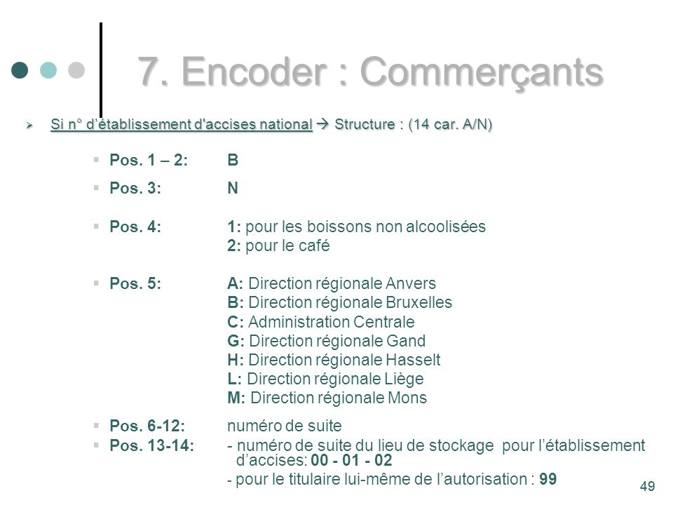 7. Encoder : Commerçants Pos. 1 – 2: B Pos. 3: N