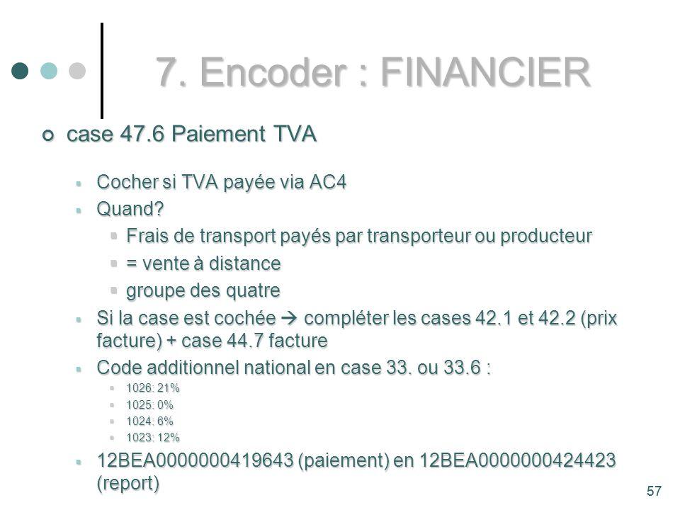 7. Encoder : FINANCIER case 47.6 Paiement TVA