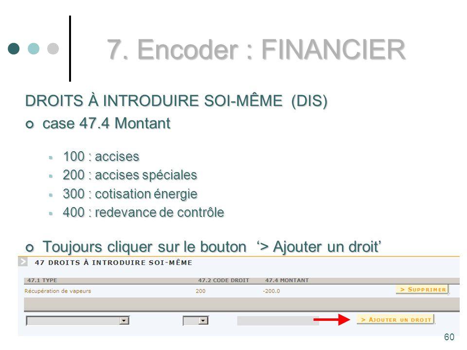 7. Encoder : FINANCIER DROITS À INTRODUIRE SOI-MÊME (DIS)
