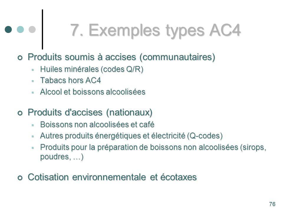 7. Exemples types AC4 Produits soumis à accises (communautaires)