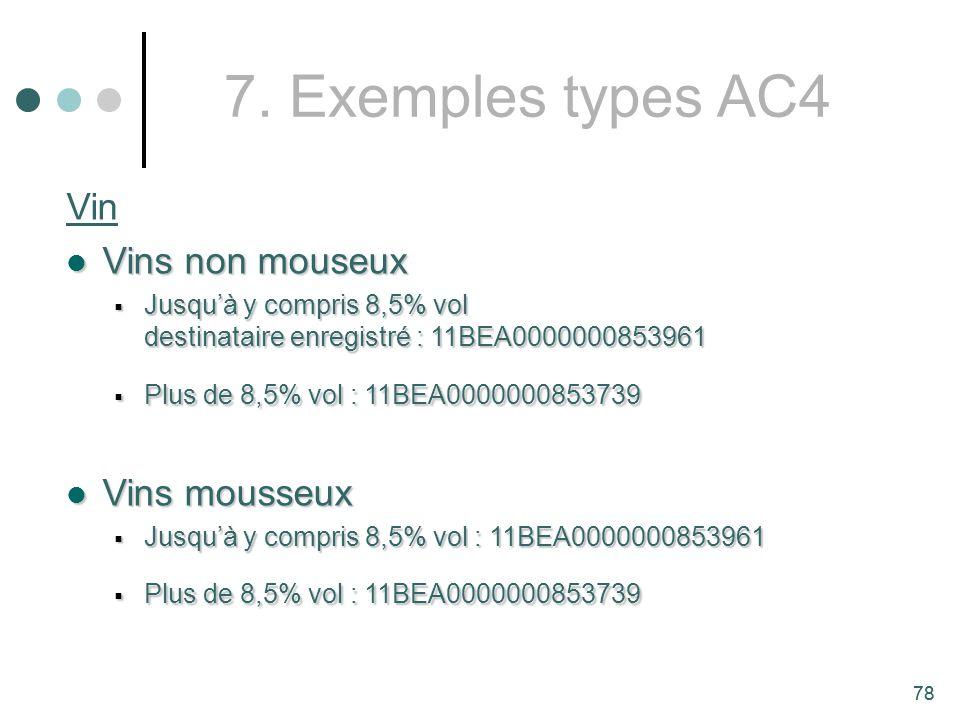 7. Exemples types AC4 Vin Vins non mouseux Vins mousseux