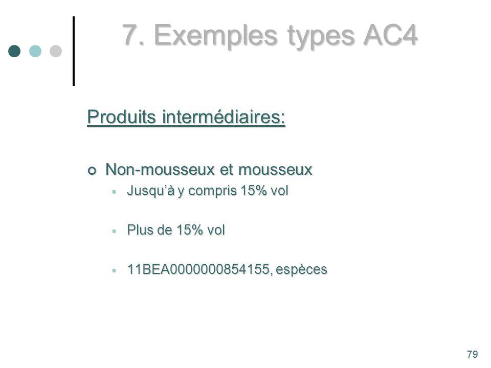 7. Exemples types AC4 Produits intermédiaires: