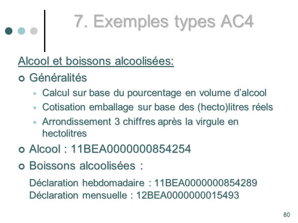 7. Exemples types AC4 Alcool et boissons alcoolisées: Généralités